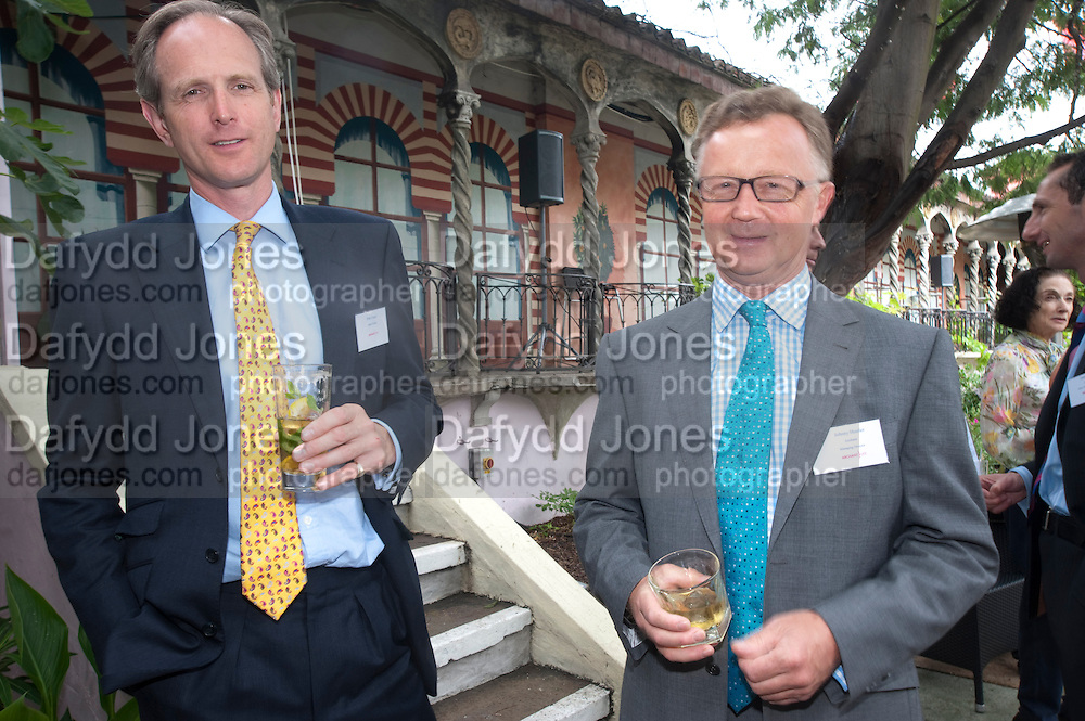 PETER; JOHN D. WOOD; JOHNNY HUSTLER, Archant Summer party. Kensington Roof Gardens. London. 7 July 2010. -DO NOT ARCHIVE-© Copyright Photograph by Dafydd Jones. 248 Clapham Rd. London SW9 0PZ. Tel 0207 820 0771. www.dafjones.com.
