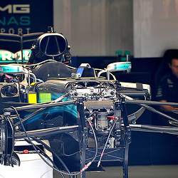 The bare bones of Lewis Hamilton's  Mercedes AMG Petronas F1 car.<br /> Day 1 of the 2017 Formula 1 Singapore airlines, Singapore Grand Prix, held at The Marina Bay street circuit, Singapore on the 14th September 2017.<br /> Wayne Neal | SportPix.org.uk