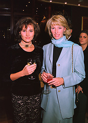 Left to right, HENRIETTA, COUNTESS OF CALEDON and MRS ZARA PLUNKETT-ERNLE-ERLE-DRAX sister of Tiggy Legge-Bourke, at a party in London on 18th November 1997.MDK 25