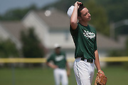 West Deptford's pitcher Danny Riley reacts to over throwing the ball to third and allowing a run to score during a elimination bracket game of the Eastern Regional Senior League tournament held in West Deptford on Monday, August 8.