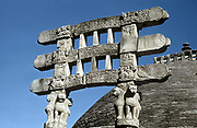 India:  Great Stupa at Sanchi, 75-50 BC, south gate (torana) architraves.