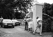 The aftermath of the shoot-out at the gates of Roundwood Park, Roundwood, County Wicklow, the home of supermarket executive Galen Weston. The Provisional IRA attempted a kidnapping at the house, but the police, having been tipped off, laid an ambush. In the ensuing firefight, four guerrillas were wounded.<br />