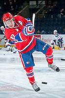 KELOWNA, CANADA -JANUARY 29:  Mitch Holmberg RW #17 of the Spokane Chiefs takes a shot during warm up against the Kelowna Rockets on January 29, 2014 at Prospera Place in Kelowna, British Columbia, Canada.   (Photo by Marissa Baecker/Getty Images)  *** Local Caption *** Mitch Holmberg;