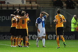 James Clarke of Bristol Rovers cuts a dejected figure as Barry Corr of Cambridge United celebrates with his team mates after scoring - Mandatory byline: Dougie Allward/JMP - 07966 386802 - 30/10/2015 - FOOTBALL - The Abbey Stadium - Cambridge, England - Cambridge United v Bristol Rovers - Sky Bet League Two