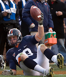 Virginia tight end Jonathan Stupar (88) makes a pass reception on the one yard line.  The #8 ranked Virginia Tech Hokies defeated the #16 ranked Virginia Cavaliers 33-21 at Scott Stadium in Charlottesville, VA on November 24, 2007.
