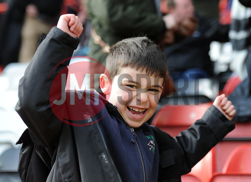 A Bristol Rugby fan cheers - Photo mandatory by-line: Dougie Allward/JMP - Mobile: 07966 386802 - 29/03/2015 - SPORT - Rugby - Bristol - Ashton Gate - Bristol Rugby v Bedford Blues - Greene King IPA Championship