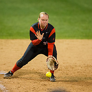 02 March 2018: San Diego State softball closes out day two of the San Diego Classic I at Aztec Softball Stadium with a night cap against CSU Northridge.  San Diego State third baseman Molly Sturdivant (31) fields a ground ball in the top of the sixth inning. The Aztecs dropped a close game 2-0 to the Matadors. <br /> More game action at sdsuaztecphotos.com