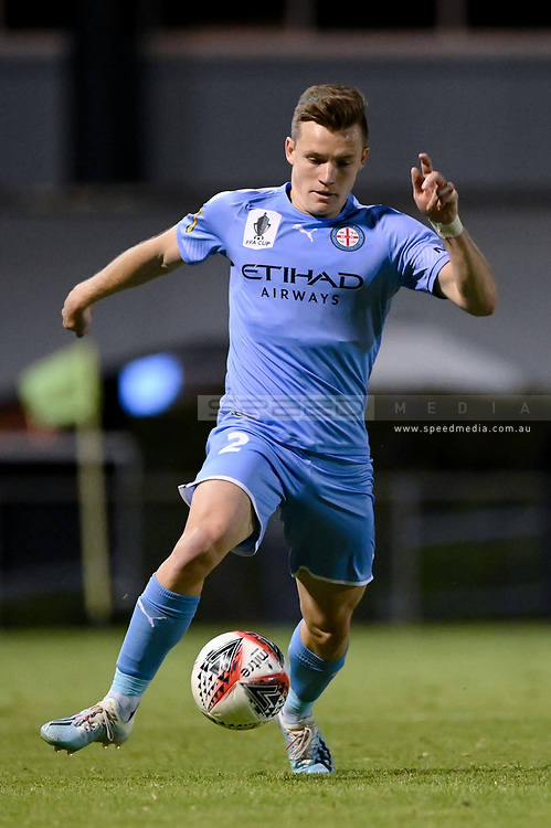 SYDNEY, AUSTRALIA - AUGUST 21: Melbourne City player Scott Galloway (2) controls the ball during the FFA Cup round of 16 soccer match between Marconi Stallions FC and Melbourne City FC on August 21, 2019 at Marconi Stadium in Sydney, Australia. (Photo by Speed Media/Icon Sportswire)