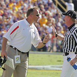 25 October 2008:  Georgia Bulldogs Head Coach Mark Richt talks to an official during the Georgia Bulldogs 52-38 victory over the LSU Tigers at Tiger Stadium in Baton Rouge, LA.