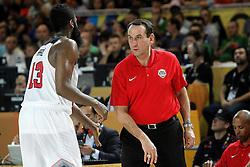 02.09.2014, City Arena, Bilbao, ESP, FIBA WM, USA vs Neuseeland, im Bild USA's coach Mike Krzyzewski (l) and James Harden // during FIBA Basketball World Cup Spain 2014 match between USA and New Zealand at the City Arena in Bilbao, Spain on 2014/09/02. EXPA Pictures © 2014, PhotoCredit: EXPA/ Alterphotos/ Acero<br /> <br /> *****ATTENTION - OUT of ESP, SUI*****