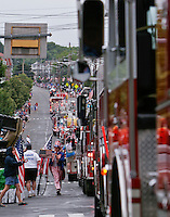 From the 2007 Fourth of July parade in Norwood MA. Fire trucks from Norwood and a number of the neighboring towns lead the parade with lights and sirens blaring
