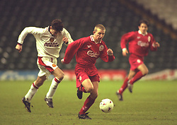 LIVERPOOL, ENGLAND - Tuesday, January 7, 1997: Liverpool's Andy Parkinson in action against Manchester United during the FA Youth Cup match at Anfield. United won 2-1. (Pic by David Rawcliffe/Propaganda)