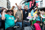 15/07/2016 Seamus Hughes and Aindreas de Stack in Galway went bananas as the European Capital of Culture 2020 was announced dancing on the street, champagne and with in the middle of the Galway international Arts Festival which will lead to a week long celebration in the City. Photo:Andrew Downes, xposure