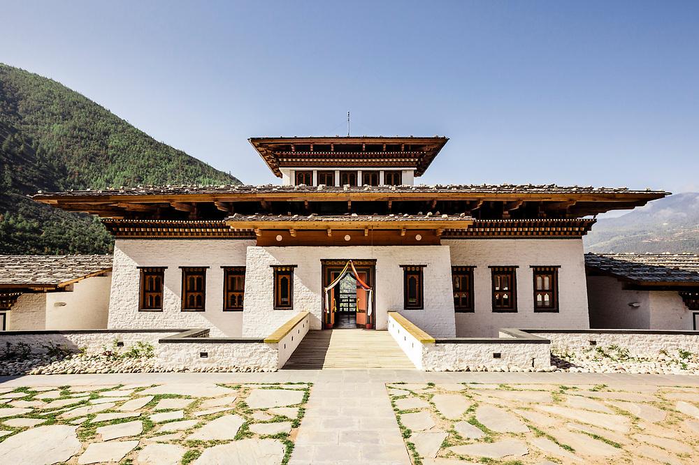 Entrance terrace  and bridge at Bhutan Spirit Sanctuary