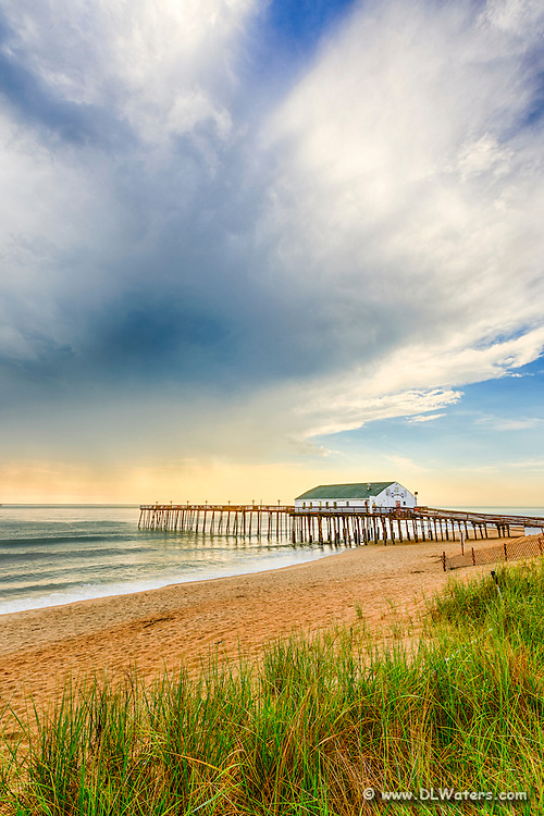 Kitty Hawk fishing pier morning light after a storm on the Outer Banks.