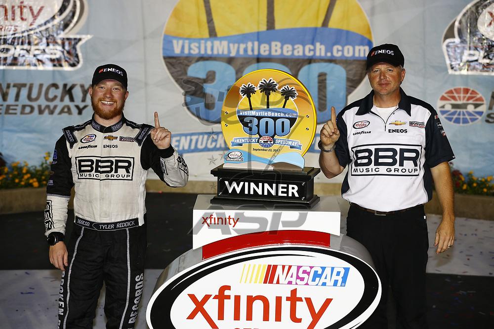 September 23, 2017 - Sparta, Kentucky, USA: Tyler Reddick (42) wins the VisitMyrtleBeach.com 300 at Kentucky Speedway in Sparta, Kentucky.