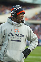 25 November 2012: Head coach Lovie Smith of the Chicago Bears coaches against the Minnesota Vikings during Bears 28-10 victory over the Vikings in an NFL football game at Soldier Field in Chicago, IL.