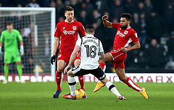Scott Golbourne of Bristol City challenges Jacob Butterfield of Derby County - Mandatory by-line: Robbie Stephenson/JMP - 11/02/2017 - FOOTBALL - iPro Stadium - Derby, England - Derby County v Bristol City - Sky Bet Championship