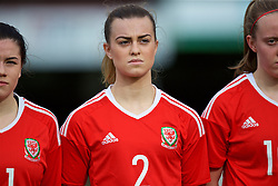 MERTHYR, WALES - Thursday, February 16, 2017: Wales' Ella Powell lines-up for the anthems ahead of the Women's Under-17's International Friendly match against Hungary at Penydarren Park. (Pic by Laura Malkin/Propaganda)