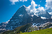 Tourists viewing the North Face of the Eiger from Kleine Scheidegg in the Swiss Alps in Bernese Oberland, Switzerland