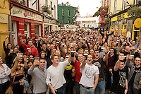 The Scene on high street at 17.59  in Galway on Arthur's day celebrating Guinness . Photo:Andrew Downes