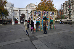 UK ENGLAND LONDON 23NOV11 - Street scene at Marble Arch, central London...On display is a 15 cubic metre model of iconic Marble Arch, using the amount of litter dropped in one day on Oxford Street, Regent Street and Bond Street.....jre/Photo by Jiri Rezac....© Jiri Rezac 2011