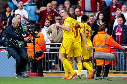 Philippe Coutinho of Liverpool celebrates scoring a goal to make it 0-1 - Photo mandatory by-line: Rogan Thomson/JMP - 07966 386802 - 19/04/2015 - SPORT - FOOTBALL - London, England - Wembley Stadium - Aston Villa v Liverpool - FA Cup Semi Final.