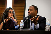 "Alex Gee makes a point on the panel ""Moving past the fear — How to talk about race in all of your spaces"" at the Cap Times 2017 Idea Fest, Saturday, September 16, 2017"