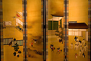 "Screen depicting scenes from the novel ""The Tale of Genji"" at the Genji museum in Uji city south of Kyoto.."