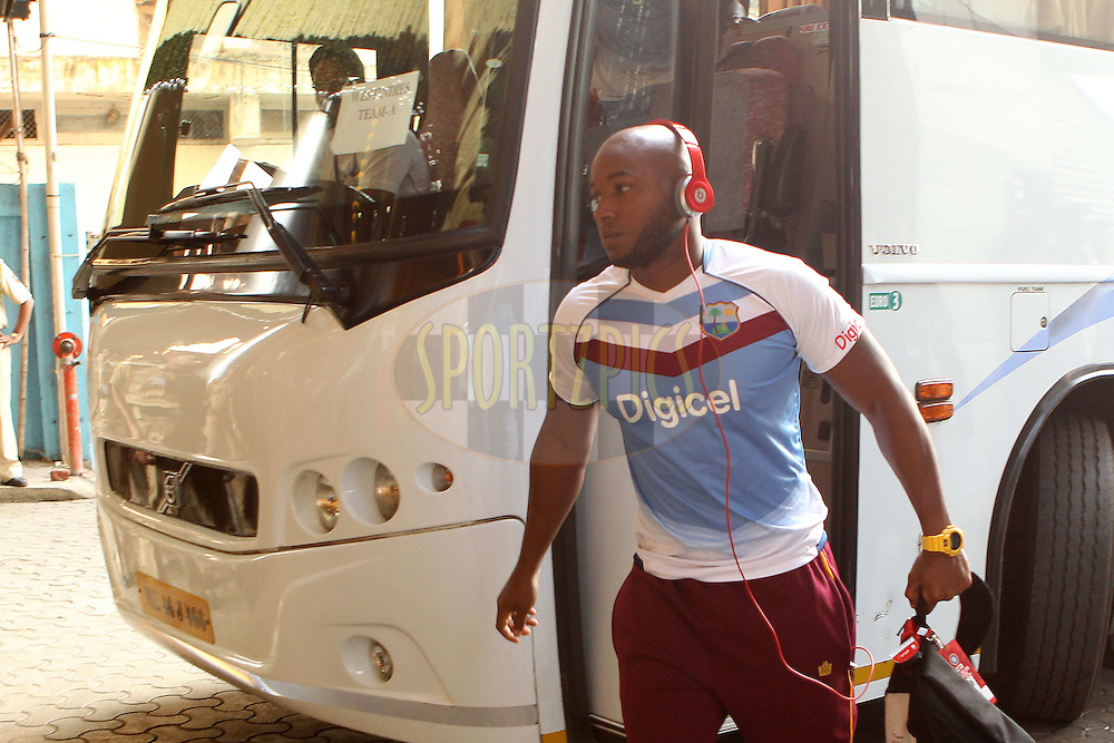 Tino Best of West Indies arrives at the stadium during day two of the second Star Sports test match between India and The West Indies held at The Wankhede Stadium in Mumbai, India on the 15th November 2013<br /> <br /> This test match is the 200th test match for Sachin Tendulkar and his last for India.  After a career spanning more than 24yrs Sachin is retiring from cricket and this test match is his last appearance on the field of play.<br /> <br /> <br /> Photo by: Ron Gaunt - BCCI - SPORTZPICS<br /> <br /> Use of this image is subject to the terms and conditions as outlined by the BCCI. These terms can be found by following this link:<br /> <br /> http://sportzpics.photoshelter.com/gallery/BCCI-Image-Terms/G0000ahUVIIEBQ84/C0000whs75.ajndY