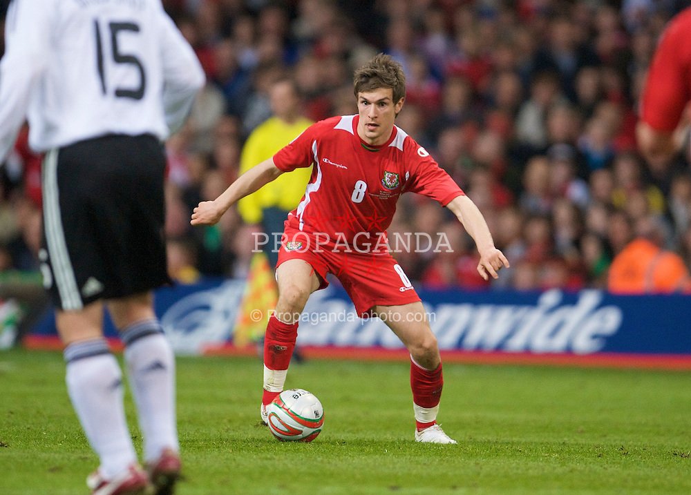 CARDIFF, WALES - Wednesday, April 1, 2009: Wales' Aaron Ramsey in action against Germany during the 2010 FIFA World Cup Qualifying Group 4 match at the Millennium Stadium. (Pic by David Rawcliffe/Propaganda)