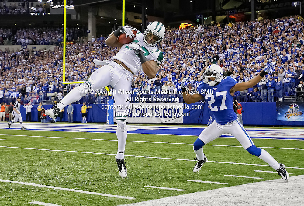 08 January 2011:  New York Jets wide receiver Braylon Edwards (17) catches a pass to set up the winning field goal in game action.  The New York Jets defeated the Indianapolis Colts by the score of 17-16 at Lucas Oil Stadium in Indianapolis, IN.