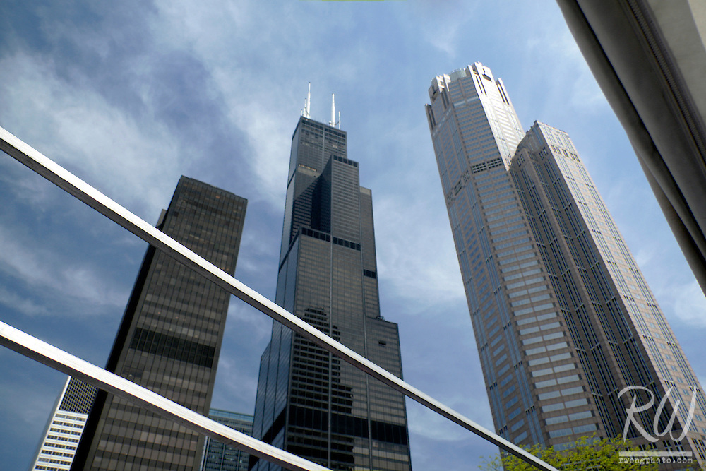Sears Tower and Neighboring Skyscrapers in Chicago's South Loop, Illinois