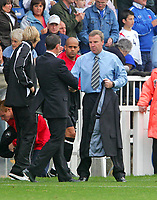 Photo: Andrew Unwin.<br />Hartlepool Utd v Swansea. Coca Cola League 1.<br />17/09/2005.<br />Hartlepool's Martin Scott (L) and Swansea's Kenny Jackett shakes hands at the end of the game.