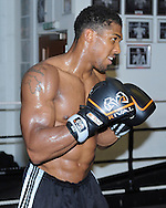 Picture by Alan Stanford/Focus Images Ltd +44 7915 056117<br /> 30/09/2013<br /> Anthony Joshua MBE performs in a media workout at Gator ABC, Hainault, Essex..