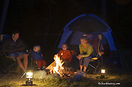 Reid and Kirsten Sabin with children Elise and Chase at campsite near Whitefish Montana model released