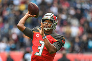 Tampa Bay Buccaneers Quarterback Jameis Winston (3) throws the ball during the International Series match between Tampa Bay Buccaneers and Carolina Panthers at Tottenham Hotspur Stadium, London, United Kingdom on 13 October 2019.