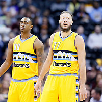 04 March 2016: Denver Nuggets center Joffrey Lauvergne (77) is seen next to Denver Nuggets forward Darrell Arthur (00) during the Brooklyn Nets 121-120 victory over the Denver Nuggets, at the Pepsi Center, Denver, Colorado, USA.