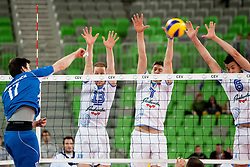 Alexander Shafranovich #17 of Israel, Tine Urnaut #13, Matevz Kamnik #7 and Mitja Gasparini #6 of Slovenia during qualifications match for FIVB Men's World Championship 2014 between National team Slovenia and Israel in pool B on May 24, 2013 in SRC Stozice, Ljubljana, Slovenia. (Photo By Urban Urbanc / Sportida)