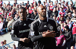Nicholas Anelka goal celebration with Salomon Kalou during the Barclays Premier League match between Aston Villa and Chelsea at Villa Park on February 21, 2009 in Birmingham, England.