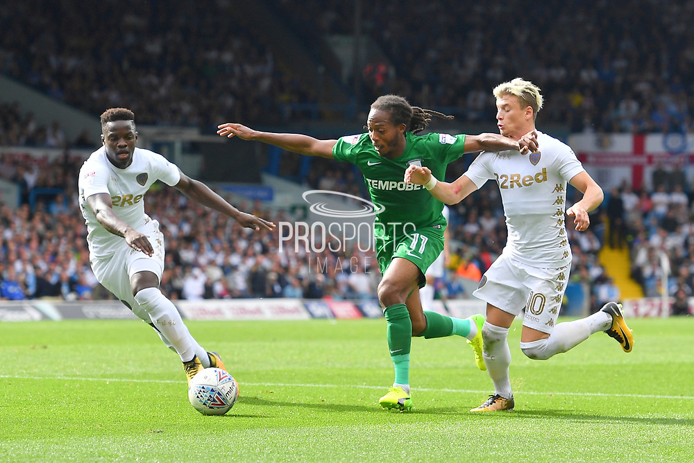 Leeds United midfielder Ronaldo Vieira (25), Preston North End midfielder Daniel Johnson (11) and Leeds United player Ezgjan Aioski (10)  during the EFL Sky Bet Championship match between Leeds United and Preston North End at Elland Road, Leeds, England on 12 August 2017. Photo by Ian Lyall.