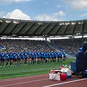 Roma 11/02/2017 Stadio Olimpico <br /> RBS 6 nations 2017<br /> Italia vs Irlanda<br /> gli azzurri schierati per l'inno