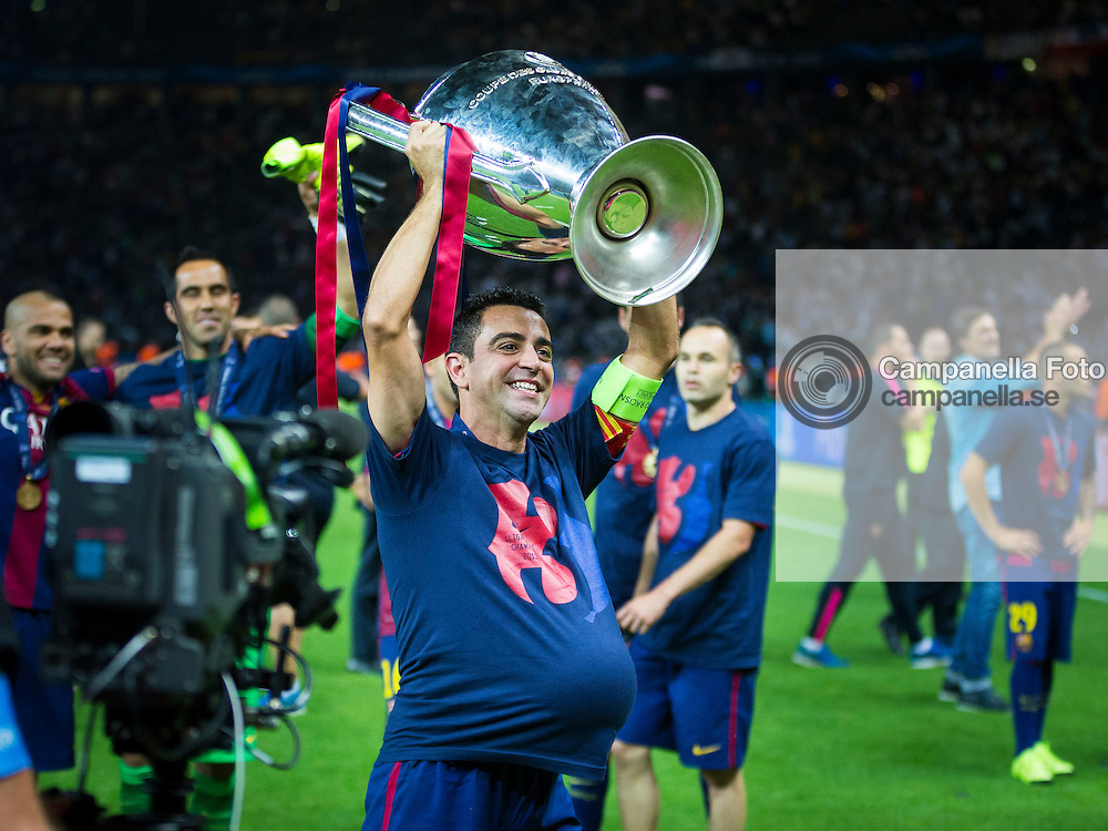 BERLIN, GERMANY - June 6th 2015:<br /> <br /> Barcelona 6 Xavi Hern&aacute;ndez celebrates after the UEFA Champions League Final between Juventus FC and FC Barcelona at Olympiastadion in Berlin, Germany on June 6th 2015. (Photo: Michael Campanella)