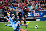 July 13 2017: Arsenal player Danny Welbeck (23) has a shot at goal at the International soccer match between English Premier League giants Arsenal and A-League premiers Sydney FC at ANZ Stadium in Sydney.