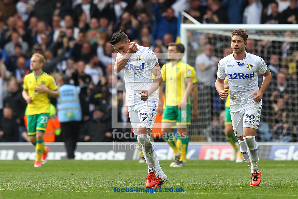 Pablo Hernandez of Leeds United celebrates scoring his sides 3rd goal during the Sky Bet Championship match at Elland Road, Leeds<br /> Picture by Paul Chesterton/Focus Images Ltd +44 7904 640267<br /> 29/04/2017