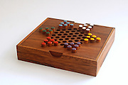 Chinese checkers colour pegs on a wooden boardA game of strategy and planning