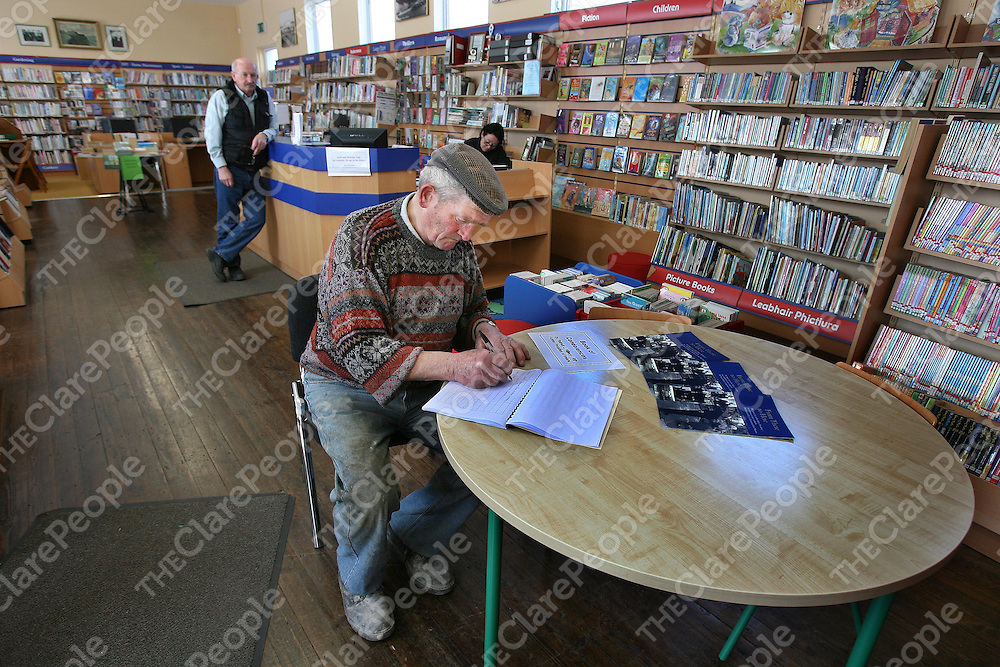 John Looney from the Crosses of Annagh,Co Clare signing the Book Of Condelence for the late Patrick J Hillery at the Library named in his honour at Milltown Malbay ,Co Clare on Monday.<br /><br />Photograph by Eamon Ward