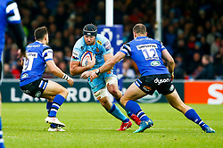 Wilhelm Van Der Sluys of Exeter Chiefs is marked by Max Green of Bath Rugby and Jamie Roberts of Bath Rugby - Mandatory by-line: Ryan Hiscott/JMP - 03/11/2018 - RUGBY - Sandy Park Stadium - Exeter, England - Exeter Chiefs v Bath Rugby - Premiership Rugby Cup