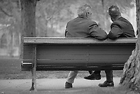 1976, Montreal, Quebec, Canada --- Friends Sitting on a Park Bench --- © Owen Franken