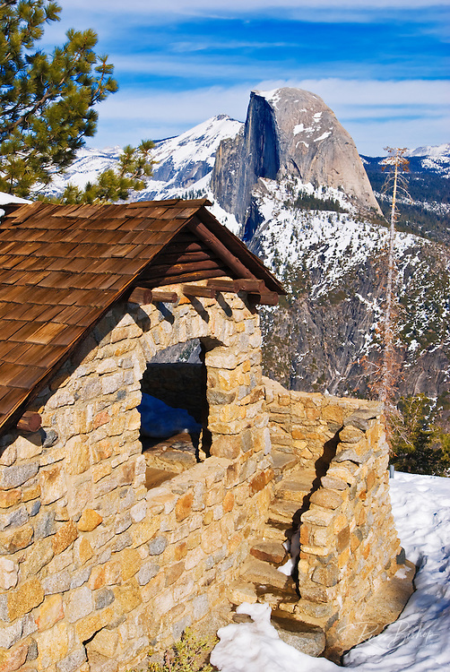 The Glacier Point hut and Half Dome, Yosemite National Park, California